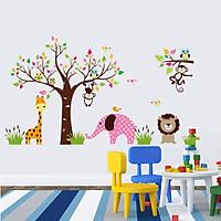 Decal dán tường Vườn thú hồng to