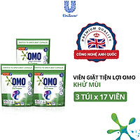 Combo 3 Túi 17 Viên giặt OMO Cho máy giặt cửa trước và cửa trên Khử Mùi Công nghệ Anh Quốc