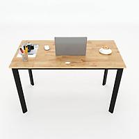 Bàn làm việc Oval gỗ cao su, chân sắt oval lắp ráp, 120x60x75cm màu gỗ tự nhiên