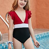 2021 Đỏ Bé Gái Một Mảnh Mùa Hè Bông Sen Mặc Đi Biển Cho 5 ~ 10 Tuổi Trẻ Em Vintage Chắc Chắn đồ Bơi