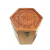 Hộp đựng chè Chữ PHÚC lục giác bằng gỗ UK WOOD