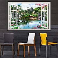 Bức tranh dán tường cửa sổ 3D in trên giấy ảnh với 2 lựa chọn bề mặt cán PVC gương hoặc cán bóng, mã số: 00400640L11