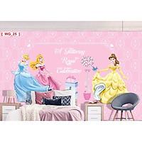 Tranh dán tường 3d 3 nàng công chúa - tranh dán phòng bé TB37