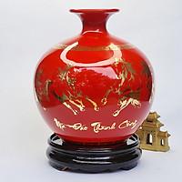 Bình Hút Lộc Gốm Sứ Đỏ Vẽ Vàng Bát Mã - Mã Đáo Thành Công - Mx