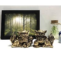 Cặp Tượng Đá Trang Trí Kỳ Lân Phong Thủy - Màu Nhũ Vàng - Size Nhỏ