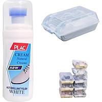 Combo chai xịt tẩy trắng giày Plac và hộp đựng giày nhựa có nắp đậy