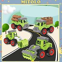 Đồ chơi trẻ em xe công trình , bộ mô hình 4 xe đồ chơi ô tô xe tải cho bé LY028
