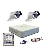 Trọn bộ 2 Camera Hikvision 1.0MP DS-2CE16C0T-IR và DS-7104HGHI-F1 - HDD WD 500GB.