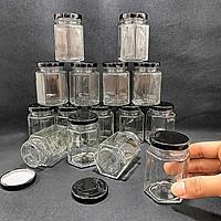Hũ thủy tinh nhỏ 100ML (combo 15 hũ) mẫu lục giác nắp thiếc đen – Lọ chưng yến - Đựng mật ong, yến chưng, dầu dừa, thức uống, sữa chua, thực phẩm, hủ gia vị