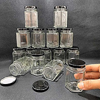 Lọ thủy tinh nhỏ 100ML (combo 8 lọ) mẫu lục giác nắp thiếc đen – Hũ chưng yến - Đựng mật ong, yến chưng, dầu dừa, thức uống, sữa chua, thực phẩm, hủ gia vị