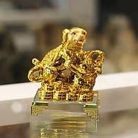 Tượng chó vàng ôm hồ lô vàng đế thủy tinh C035A