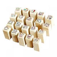 Bộ 20 con dấu gỗ mèo trang trí- Tặng kèm mực 4 màu