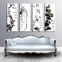Tranh Canvas treo tường tứ quý   HLB_265 - 30cm x 80cm x 4 bức
