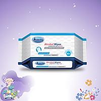 Khăn ướt cồn kháng khuẩn cao cấp iHomeda ( Gói 80 Tờ) - iHomeda Premium anti-bacteria alcohol wipes ( 80 sheets per package)