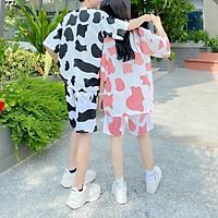 Bộ đồ Bò Sữa nam nữ Như Hình, Set bộ bò sữa unisex, sét bộ bò sữa áo tay ngắn quần đùi siêu đẹp, SET BỘ ĐỒ NỮ KIỂU BÒ SỮA ( ÁO+QUẦN ) THUN COTTON HOT TREND 2021 ( 3 MÀU HỒNG,XÁM,TRẮNG )