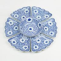 Bộ Đồ Ăn Hoa Mặt Trời Bát Tràng Men Ngọc - Khử Chì Và Kim Loại Nặng- Hoa Dây -55cm