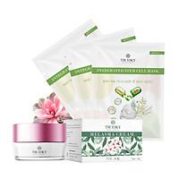 Bộ sản phẩm làm mờ nám da mặt Truesky V03 gồm 1 kem nám da Melasma Cream 15g và 3  miếng mặt nạ tế bào gốc Truesky
