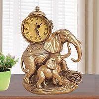 Đồng hồ để bàn tượng cặp voi phong cách tân cổ điển hàng nhập khẩu Hong Kong cao cấp mang đến vẻ đẹp sang trọng và quyền quý cho không gian trưng bày