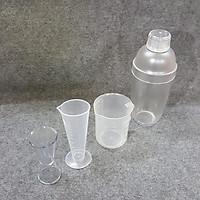 Combo 4 dụng cụ pha chế quầy cà phê - Shaker 700ml vạch chia in mờ