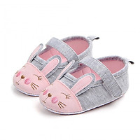 Giày tập đi bằng vải cho bé gái 0-18 tháng họa tiết thỏ xinh xắn – TD17