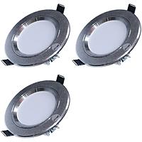 Bộ 3 đèn LED âm trần tán quang tiết kiệm điện Gnesco 7W (Vàng nhạt)
