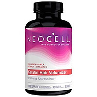 NeoCell Keratin Hair Volumizer, Enhance Hair Strength, Grass-Fed Collagen, Gluten Free - 60 Capsules (Package May Vary)