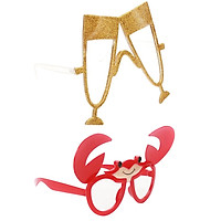 2PCS Funny Party Glasses Sunglasses Costume  Champagne Glass Red  Shaped
