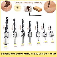 Bộ 7 mũi khoan gỗ bắt âm mũ vít đầu đinh cỡ 3 - 10mm