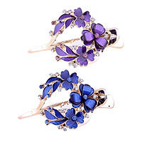 2pcs Strong Floral Hair Clip Diamante Casual Hairpin Hair Styling Tool