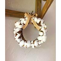 Vòng hoa bông gòn trắng trang trí - sản phẩm trang trí hoàn hảo cho ngôi nhà