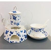 Bộ trà ấm đun hoa xanh 14 món 5300