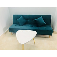 Bộ sofa bed, sofa giường vải nhung xanh nhung cổ vịt XNCV 1m7x90, bộ sofa phòng khách