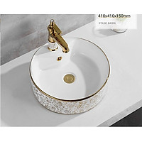 Chậu lavabo tròn đặt bàn hoa văn vàng EVEREST EVE-L6017