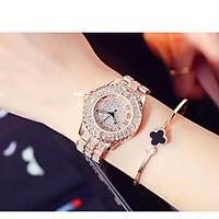 Đồng hồ thời trang nữ Lb1, mặt tròn đính đá dây kim loại - không kèm vòng tay