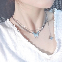 Vòng cổ Choker nữ hình bướm - dây chuyền 2 lớp kiểu dáng cá tính