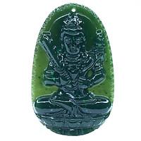 Mặt dây chuyền Hư Không Tạng Bồ Tát Ngọc Bích tự nhiên - Phật Độ Mạng cho người tuổi Sửu, Dần - PBMNEP02 (Mặt kèm sẵn dây đeo)