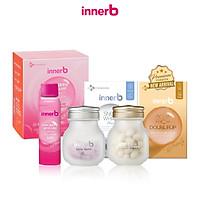 Combo 3 thực phẩm bảo vệ sức khỏe InnerB Aqua Rich Doubleup (56 viên) + Viên uống hỗ trợ sáng da InnerB Snow White (28g) & Hộp 6 chai nước uống Collagen InnerB Glowshot (50mlx6)