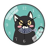 Đồng hồ treo tường tròn mèo đen ăn cá dễ thương màu đen 30cm