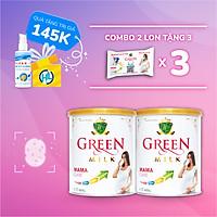 (Tặng 3 Gói Sữa + Gel rửa tay) Bộ 2 Lon Sữa Non Cho Mẹ Bầu GreenMilk Bổ Sung Canxi Dinh Dưỡng Thai Kỳ (400g)