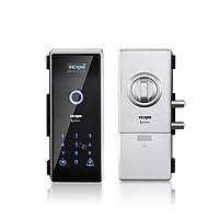 Khóa cửa điện tử VICKINI 39701.001 SPR bạc sơn. Mở bằng vân tay, mật khẩu, thẻ từ. Hàng chính hãng
