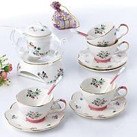 Bộ trà ấm đun hoa trắng 15 món 5129