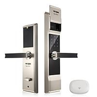 Khóa cửa điện tử VICKINI 39812.002 MSN ken xước mờ. Mở bằng Vân tay, mật mã, thẻ từ, chìa cơ, app. Hàng chính hãng