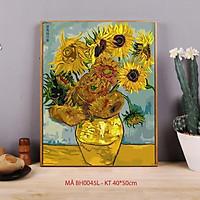 Tranh tô màu sơn dầu số hóa Mã BH0045L Hoa hướng dương Van Gogh Tranh lọ hoa trang trí treo tường làm quà tặng