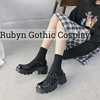 Giày Lolita Oxford đế cao cosplay học sinh Nhật Bản ( BÓNG VÀ NHÁM )