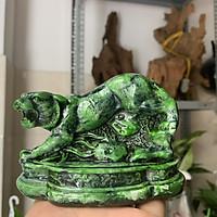 [Linh vật phong thủy] Tượng đá con Hổ trang trí phong thủy bàn làm việc trấn trạch - Màu xanh lục bích - Cao 8cm