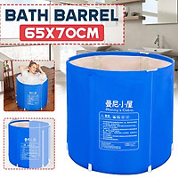 70x65cm Thicken PVC Portable Folding Bathtub Adult Foldable Bath tub Bracket Household Large Body SPA sauna Steam Barrel