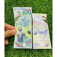 Tiền Nga 100 Rupees, bằng polyme, tiền kỷ niệm world cup 2018, tuyệt đẹp, mới 100% UNC, tặng túi nilon bảo quản The Merrick Mint