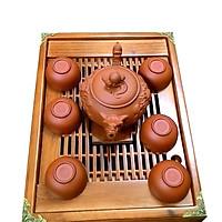 Bộ ấm chén đất nung nâu rồng kèm khay trà gỗ