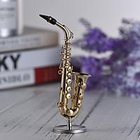 Mini Brass Alto Saxophone Sax Model Exquisite Desktop Musical Instrument Decoration Ornaments Musical Gift with Delicate
