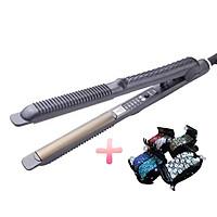 Máy duỗi tóc chỉnh nhiệt cao cấp - Duỗi cúp, duỗi thẳng - Tặng kẹp tóc 5 răng đính hạt pha lê TM050